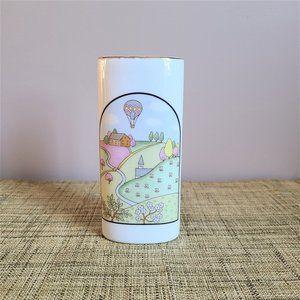 Vintage made in Japan landscape theme ceramic vase